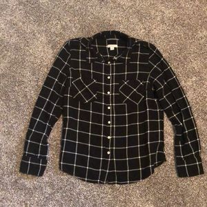 Black Plaid Button up Blouse